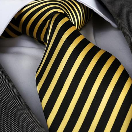 Luigi Silk Tie // Black + Yellow Stripes