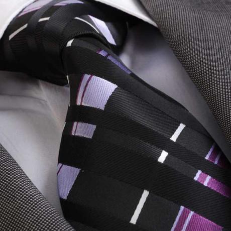 Rodrigo Silk Tie // Black + Purple + White