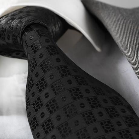Emil Silk Tie // Black Squares