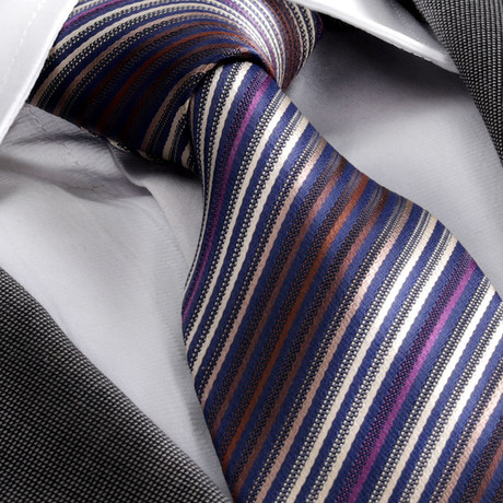 Hayden Silk Tie // Striped Blue + Purple
