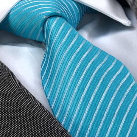 Zack Silk Tie // Turqouise Blue + White Lines