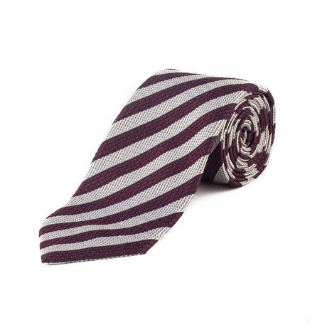 Silk Striped Tie // Purple