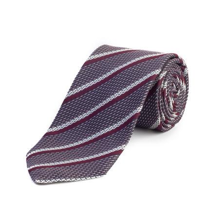 Silk Textured Stripe Tie // Black