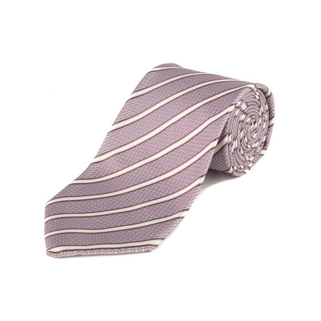 Silk Textured Stripe Tie // Purple