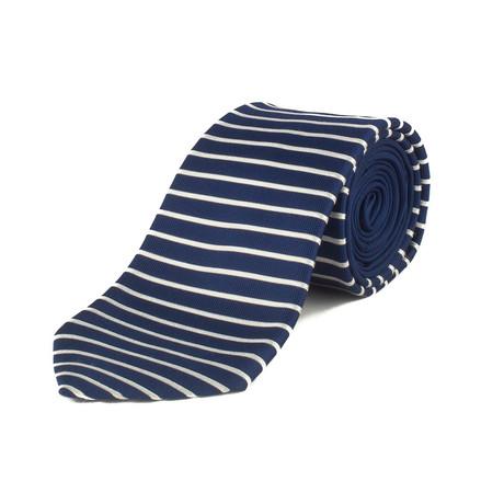 Silk Striped Tie // Navy Blue