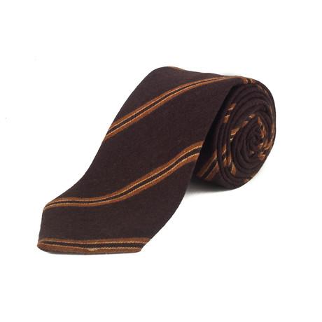 Cashmere Striped Tie // Brown