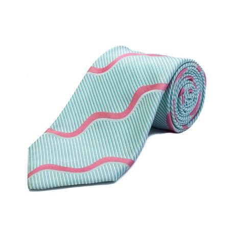 Ermenegildo Zegna // Silk Striped Tie // Blue + White + Coral