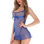 Transparent Backless Lingerie Dress // 2-Piece Set // Blue (XL)