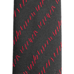 Dior // Slim Silk Abstract Striped Pattern Tie // Black + Red