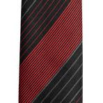 Dior // Slim Silk Striped Pattern Tie // Black + Red