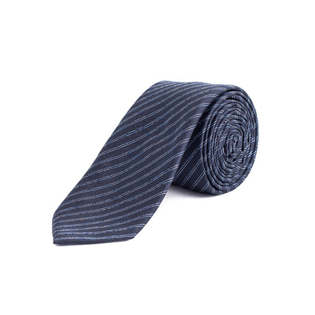 Dior // Slim Silk Striped Bee Motif Tie // Blue