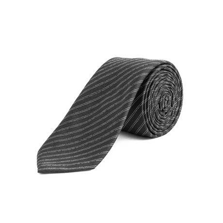Dior // Slim Silk Striped Bee Motif Tie // Black