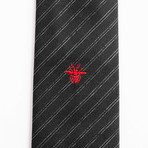 Slim Silk Striped Bee Motif Tie // Black