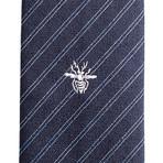 Dior // Slim Silk Striped Bee Motif Tie // Blue