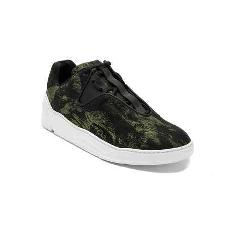 "Dior // Camo Canvas ""B17"" Trainers // Black + Green (US: 6)"