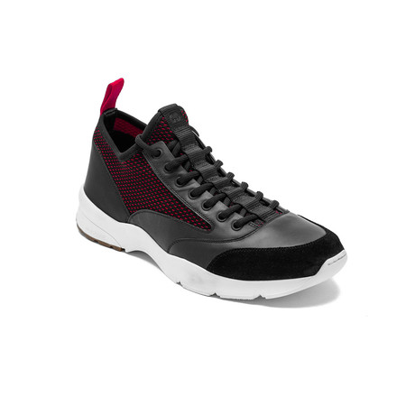 Dior // Leather Mesh Trainers // Black + Red (US: 6)