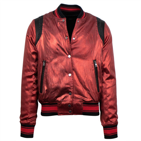 Amiri // Metallic Silk Baseball Bomber Varsity Jacket // Red (XS)