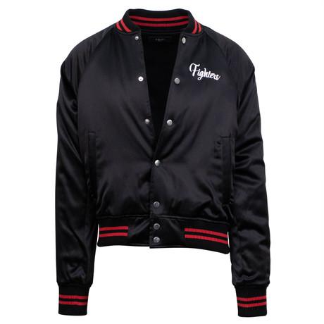 Amiri // Fighters Embroidered Baseball Varsity Jacket // Black + Red (XS)