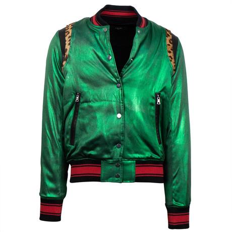 Amiri // Metallic Silk Baseball Bomber Varsity Jacket // Green (XS)