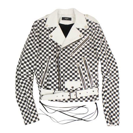 Amiri // Check Denim Biker Jacket // White + Black (XS)