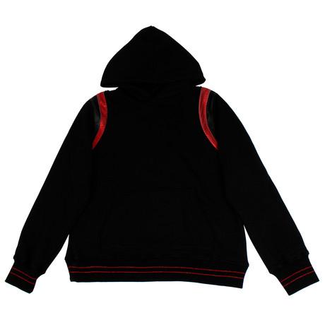 Amiri // Varsity Cotton And Leather Hoodie Sweatshirt // Black (XS)