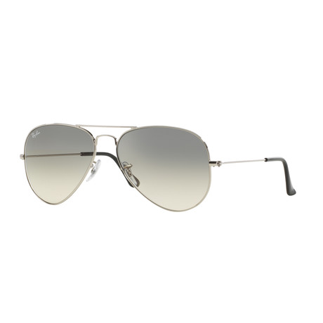 Aviator Large Metal Sunglasses // Silver + Gray Gradient