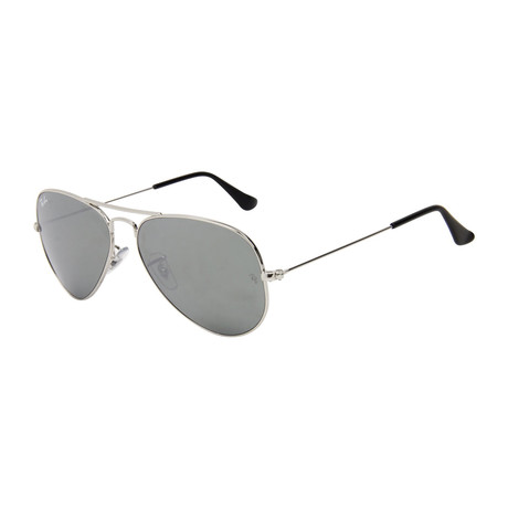 Unisex Aviator Large Metal Sunglasses // Silver + Silver Mirror