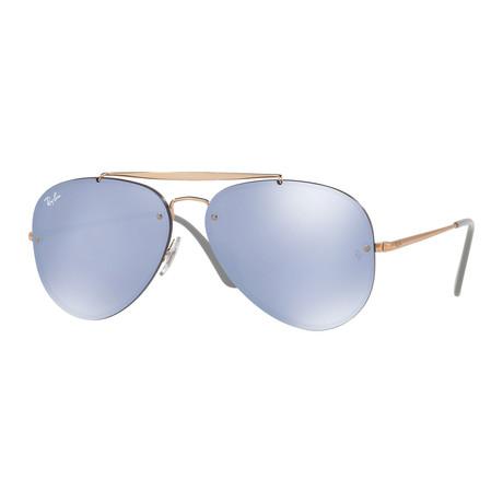 Unisex Blaze Aviator Sunglasses // Bronze Copper + Violet Mirror
