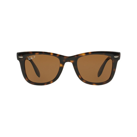 Ray-Ban // Unisex Folding Wayfarer Sunglasses // Tortoise + Brown Polarized