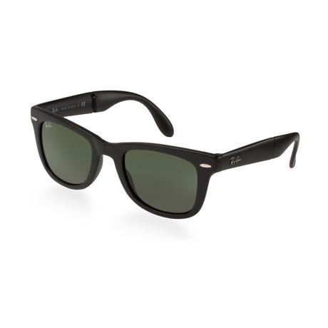 Unisex Folding Wayfarer Sunglasses // Shiny Black