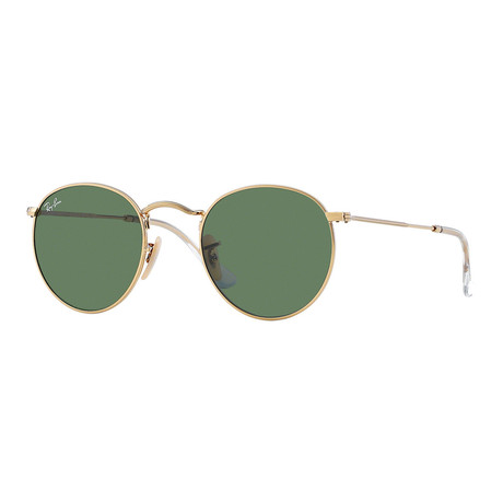 Unisex Round Metal Sunglasses // Gold + Green