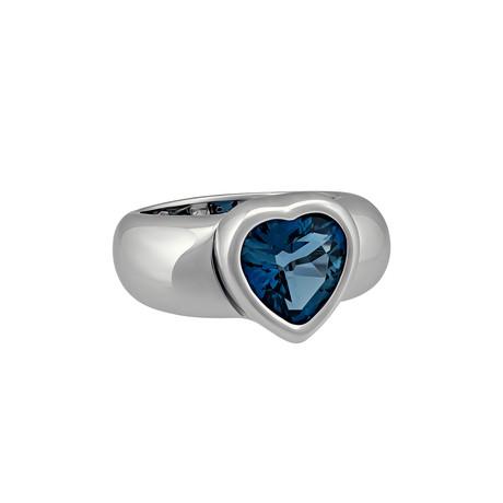 Vintage Piaget 18k White Gold London Blue Topaz Ring // Ring Size: 7