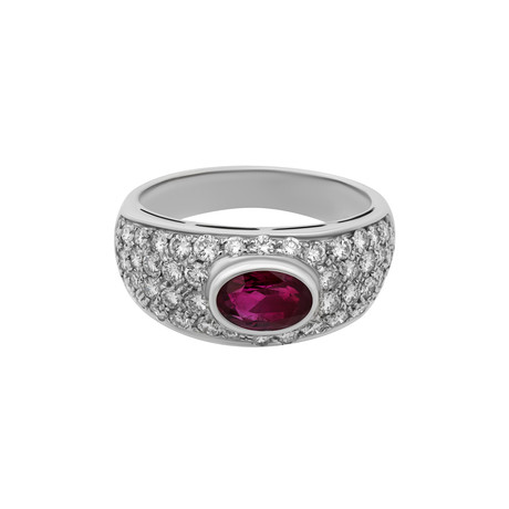 Vintage Bulgari 18k White Gold Ruby + Diamond Ring // Ring Size: 6.25