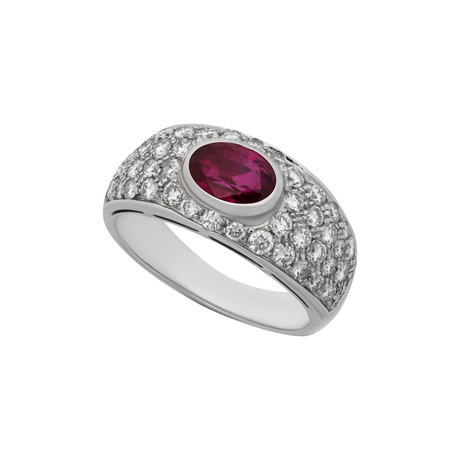 Vintage Bulgari 18k White Gold Ruby + Diamond Ring // Ring Size: 6.25