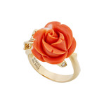 Vintage Christian Dior 18k Yellow Gold Coral Flower Diamond Ring // Ring Size: 11