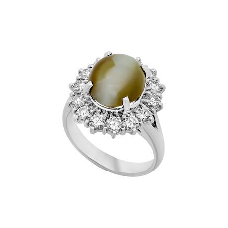 Estate Platinum Diamond + Cat's Eye Ring // Ring Size: 6.25