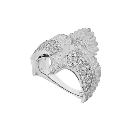 Estate 18k White Gold Diamond Eagle Ring // Ring Size: 11.25