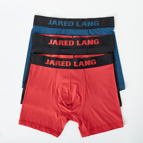 Boxer Brief // Pack of 3 // Black + Blue + Red (S)