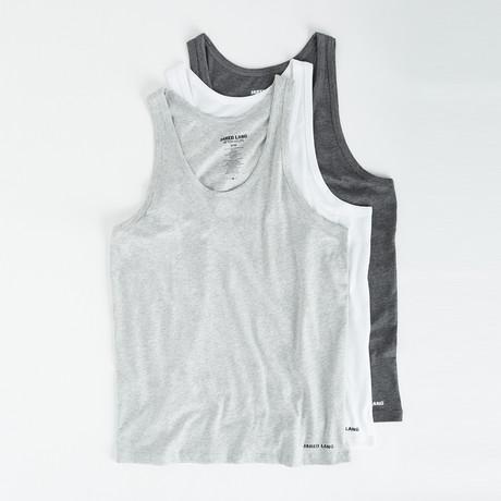 Tank Top // Pack of 3 // White + Gray + Light Gray (S)