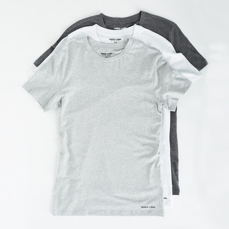 Crew Neck T Shirt // Pack of 3 // White + Gray + Light Gray (L)
