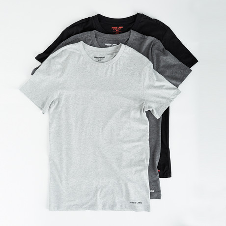 Crew Neck T Shirt // Pack of 3 // Black + Gray + Light Gray (S)