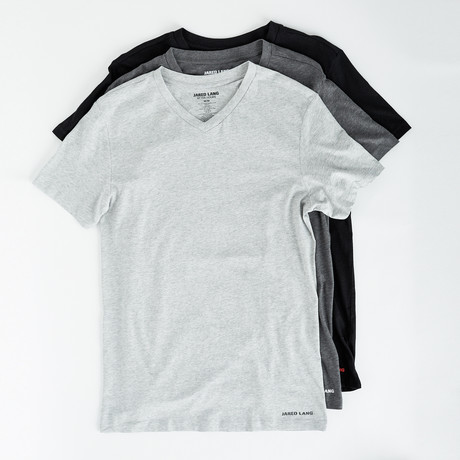 V-Neck T Shirt // Pack of 3 // Black + Gray + Light Gray (S)