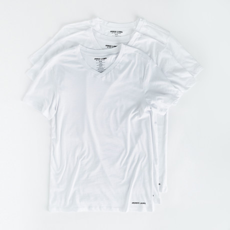 V-Neck T Shirt // Pack of 3 // White (S)