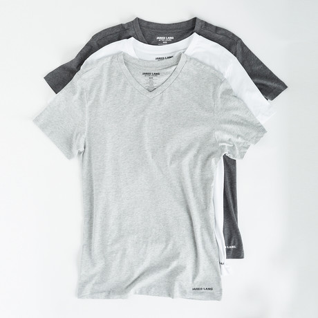 V-Neck T Shirt // Pack of 3 // White + Gray + Light Gray (S)