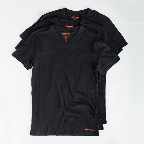 V-Neck T Shirt // Pack of 3 // Black (S)