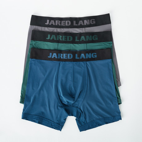 Boxer Brief // Pack of 3 // Green + Blue + Gray (S)