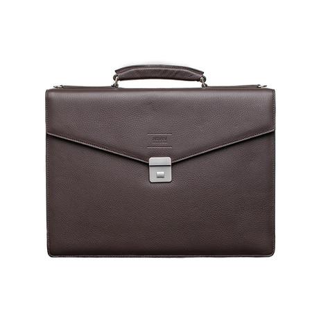 Grained Leather Briefcase Bag + Shoulder Strap // Dark Brown