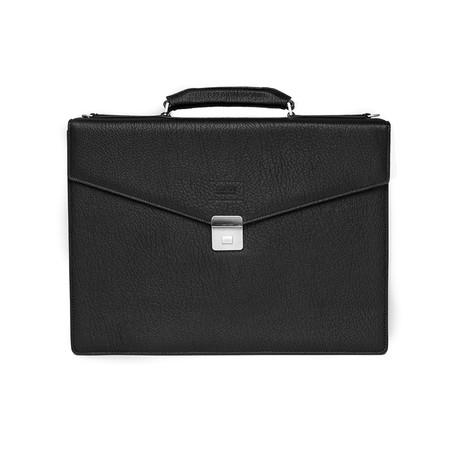 Deep Grained Leather Briefcase Bag + Shoulder Strap // Black
