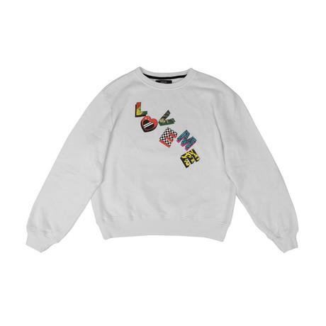 Amiri // 'LOVE ME' Crew Neck Sweatshirt // White (XS)
