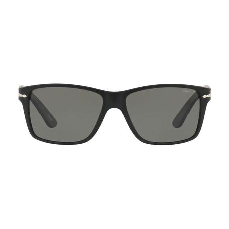 Thick Rectangle Sunglasses // Matte Black + Polarized Gray